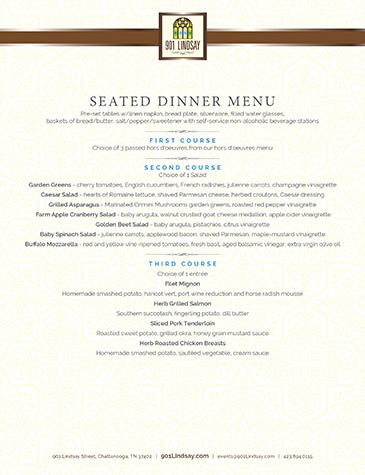 901 Lindsay | Seated Dinner Menu - Thumbnail